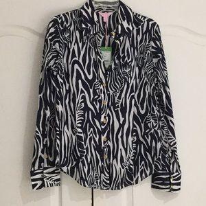 Lily Pulitzer 12 navy white zebra blouse NWT